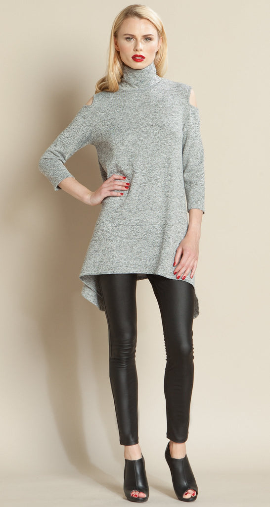 Mock Neck Open Shoulder Sweater Tunic - Grey