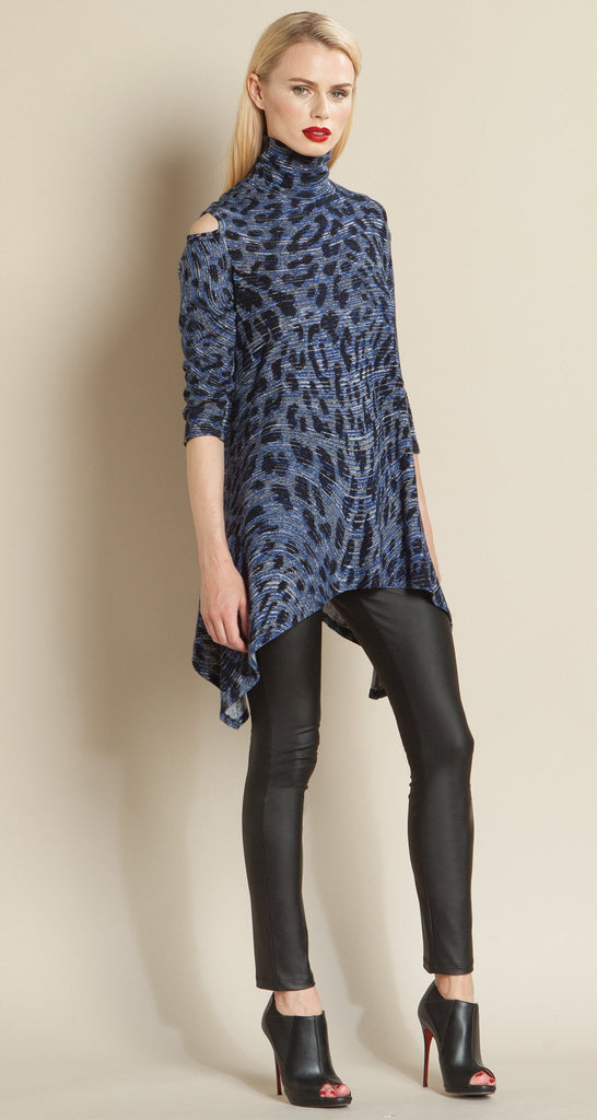 Animal Print Mock Neck Open Shoulder Sweater Tunic
