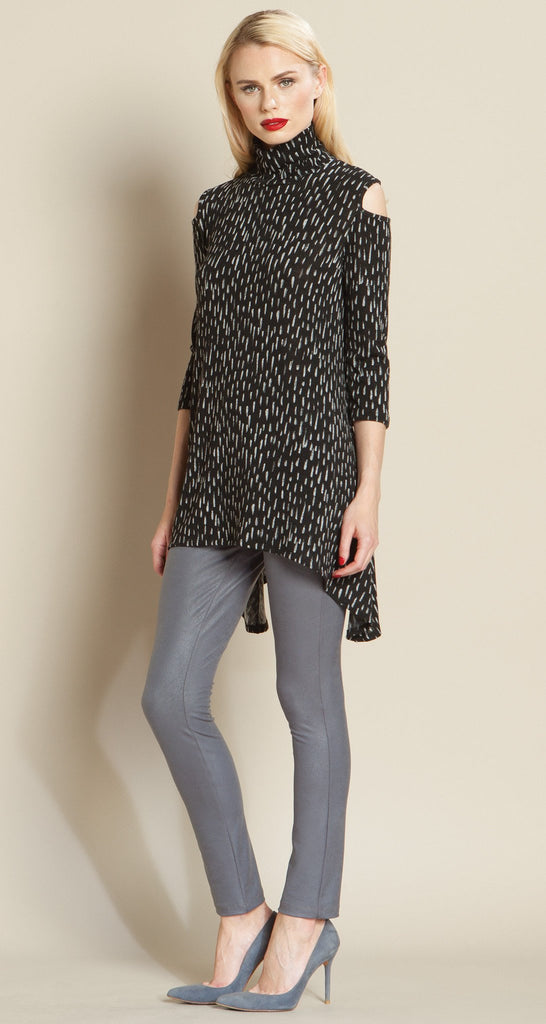 Rain Drop Print Mock Neck Open Shoulder Sweater Tunic