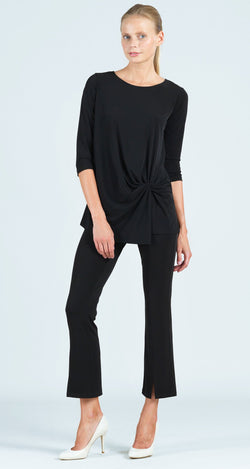 Twist Front Hem Tunic - Black
