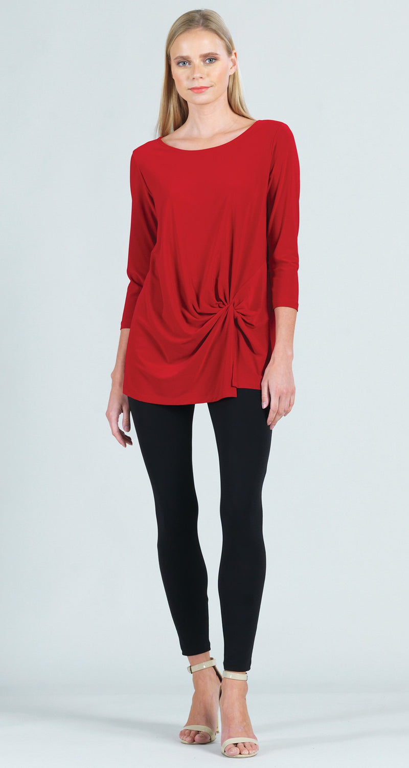 Twist Front Hem Tunic - Red