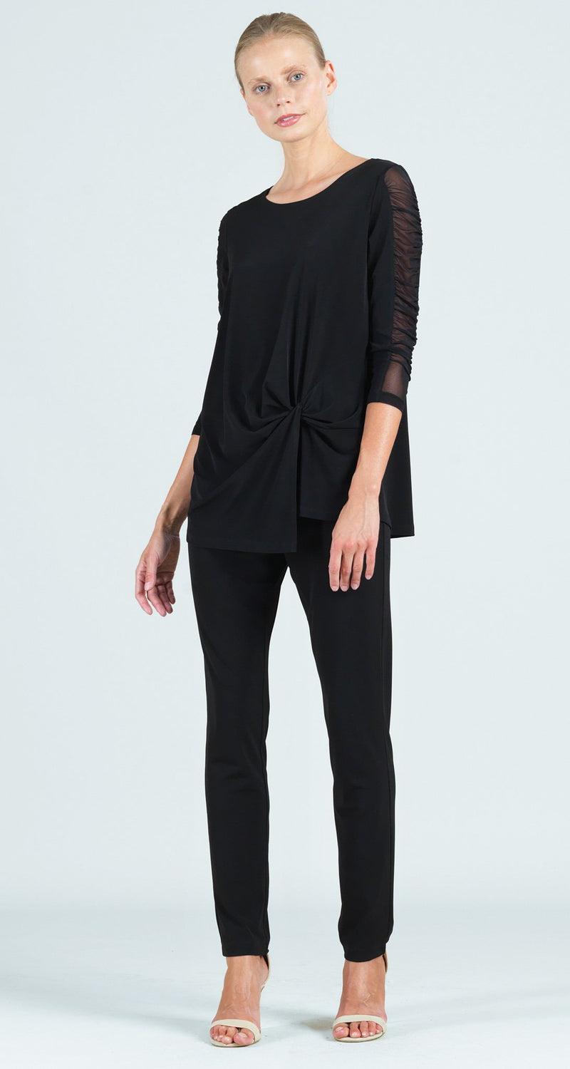 Ruched Mesh Sleeve Twist Front Hem Tunic - Black