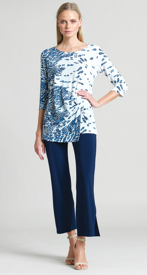 Geo Animal Print Twist Front Hem Tunic - Navy - Clara Sunwoo