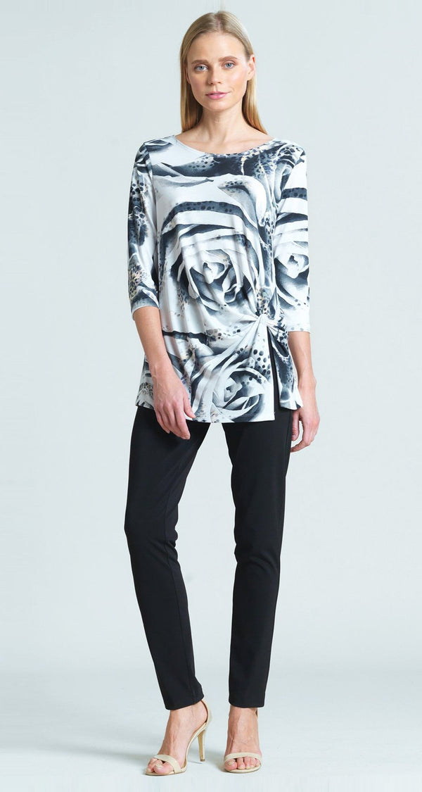 White Rose Print Twist Front Hem Tunic - Final Sale!