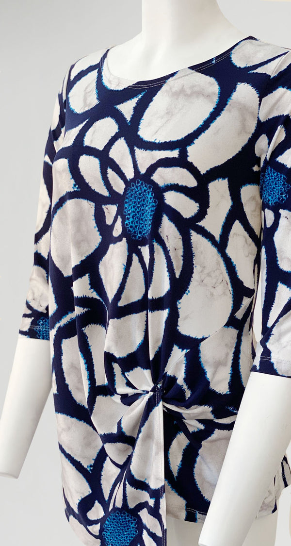 Sunflower Print Twist Front Hem Tunic - Final Sale! - Clara Sunwoo