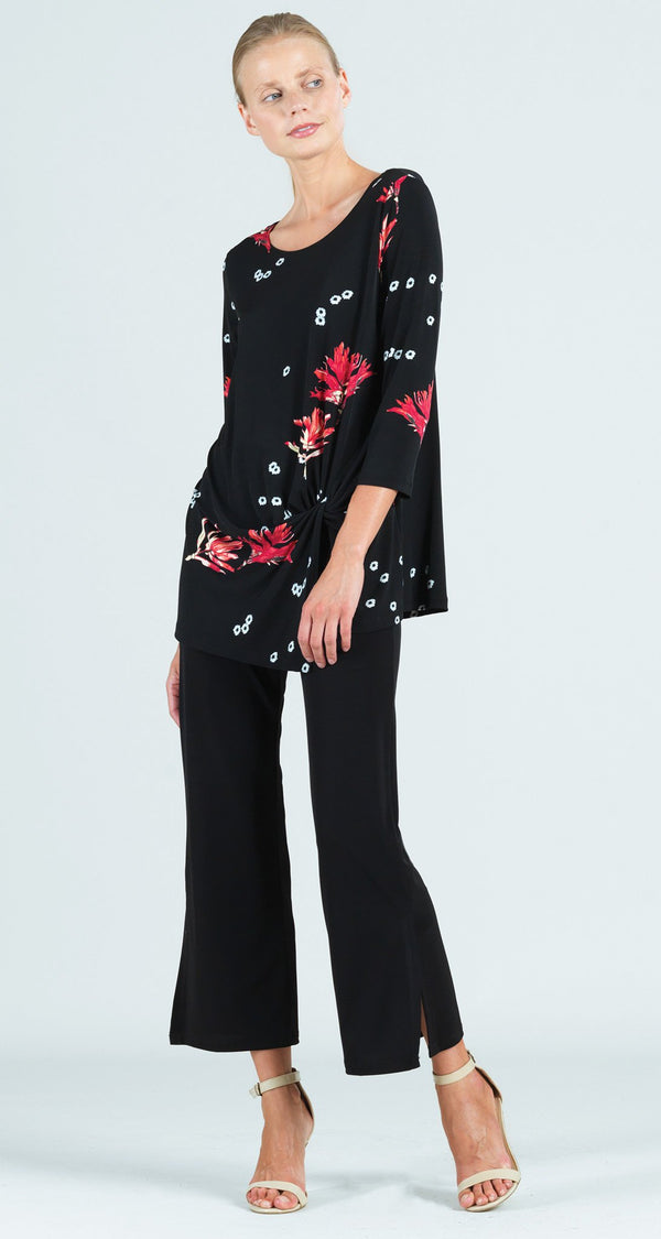 Floral Flake Print Twist Front Hem Tunic - Final Sale!