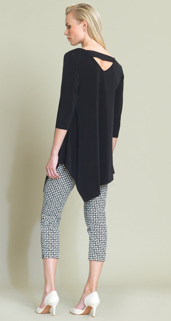 Solid V-Cross-Bar Cutout Angle Hem Tunic - Black - Final Sale! - Clara Sunwoo