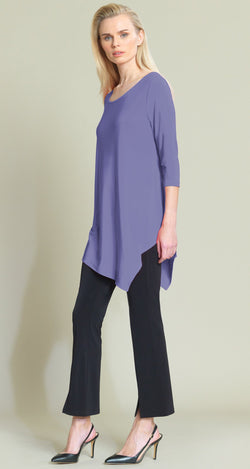 Solid V-Cross-Bar Cutout Angle Hem Tunic - Peri - Final Sale!