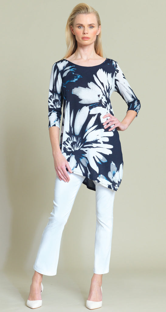 Floral Print V-Cross-Bar Cutout Angle Hem Crepe Knit Tunic - Navy Multi