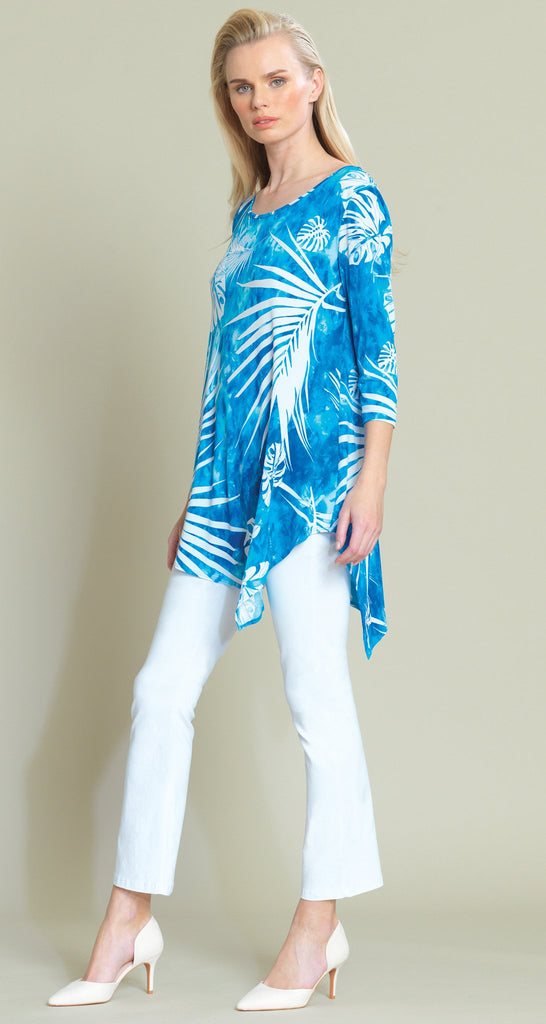 Palm Print  V-Cross-Bar Cutout Angle Hem Tunic - Blue/White - Limited Sizes!