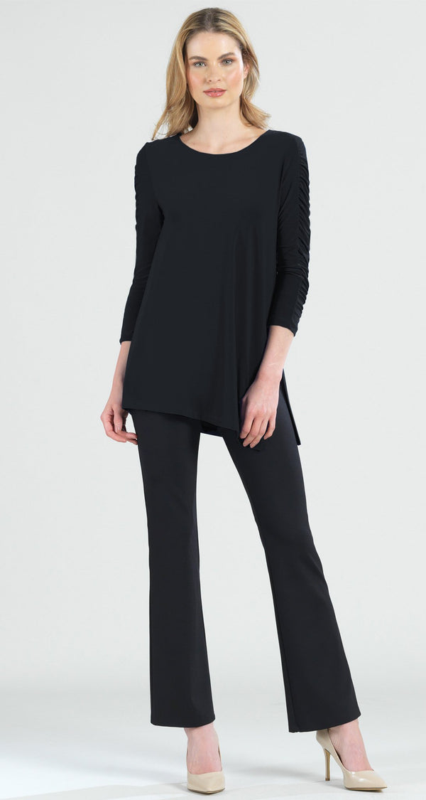 Ruched Sleeve Angle Hem Tunic - Black - Final Sale! - Clara Sunwoo