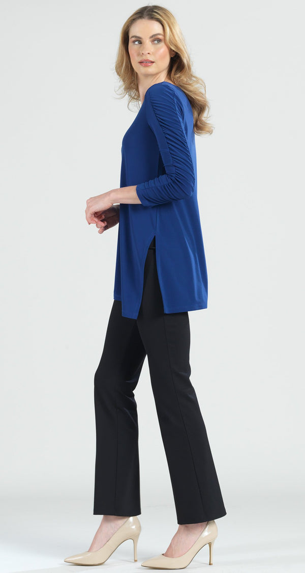 Ruched Sleeve Angle Hem Tunic - Cobalt - Final Sale! - Clara Sunwoo