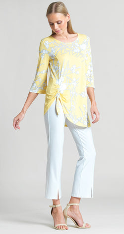 Floral Print Faux Pull Tie Tunic - Yellow - Clara Sunwoo