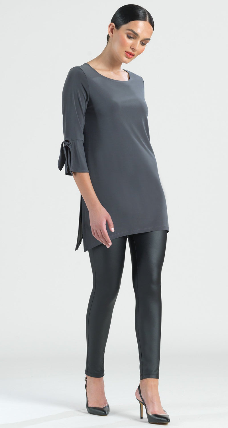 Solid Tie Cuff Side Vent Tunic - Charcoal