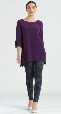 Solid Tie Cuff Side Vent Tunic - Eggplant - Final Sale! - Clara Sunwoo