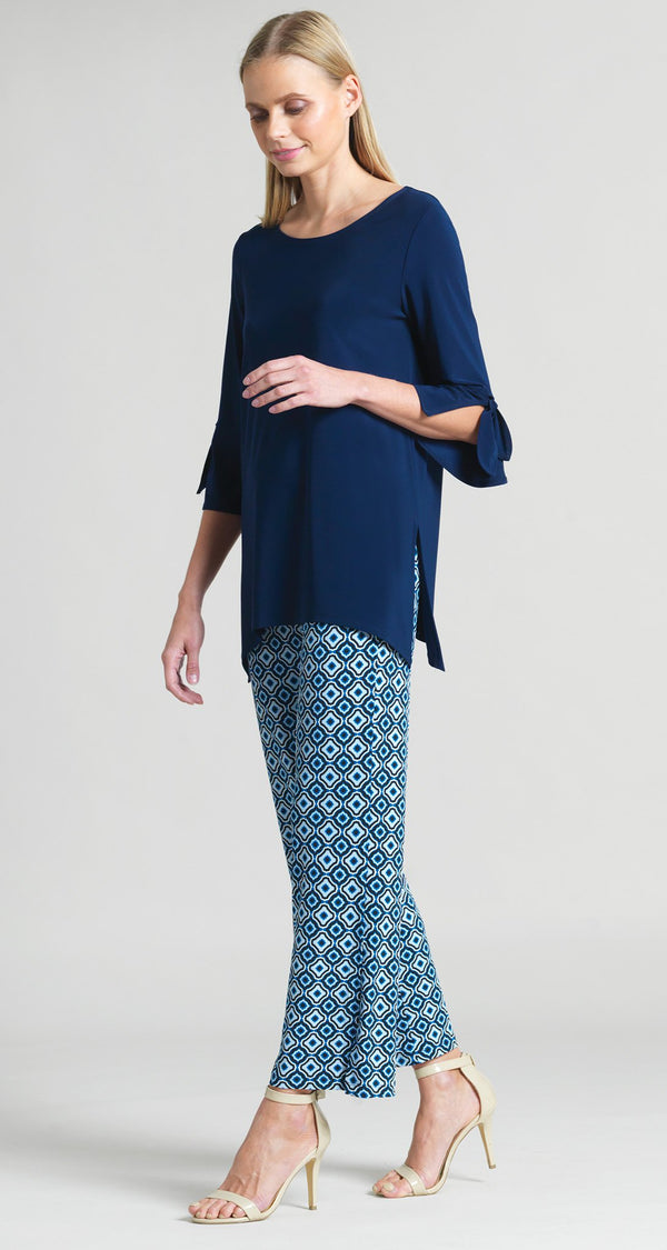 Solid Tie Cuff Side Vent Tunic - Navy