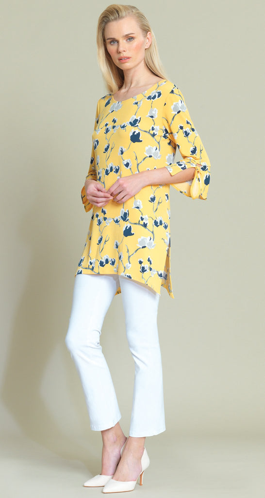 Floral Print Tie Cuff Side Vent Tunic - Yellow