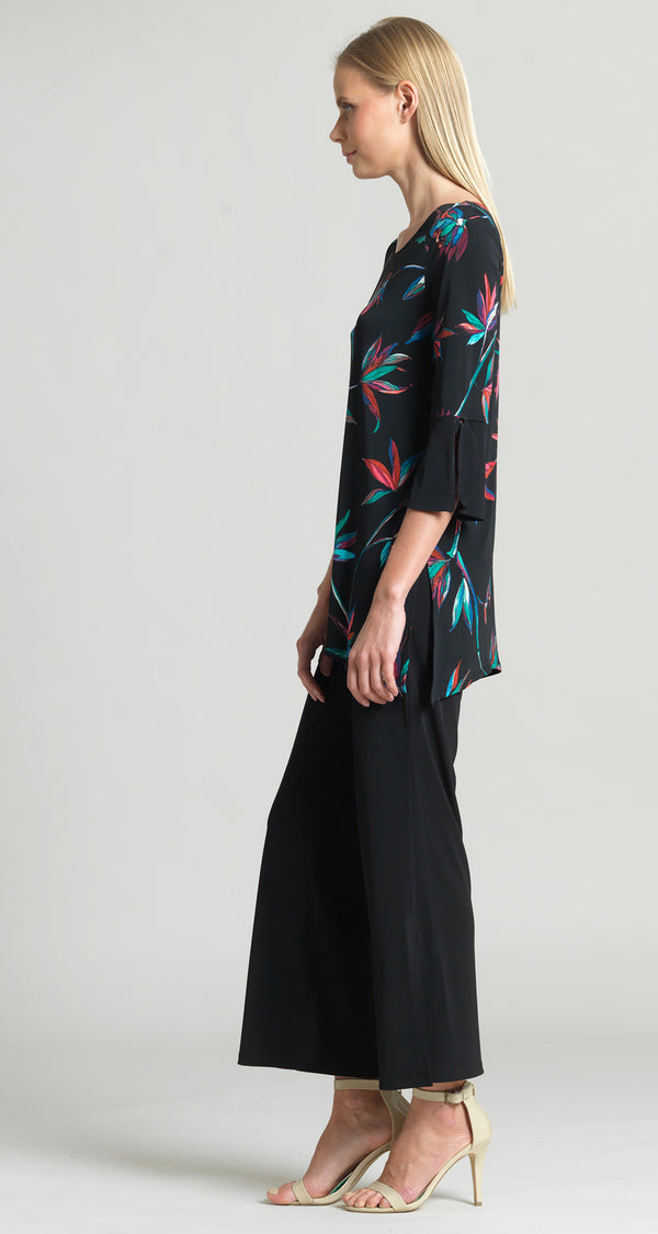 Floral Burst Print Tie Cuff Side Vent Tunic - Final Sale! - Clara Sunwoo