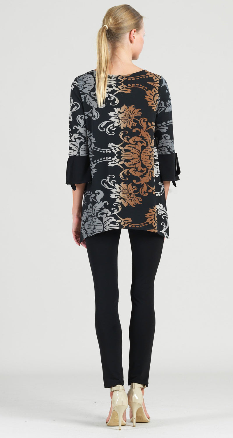 Damask Print Tie Cuff Side Vent Tunic