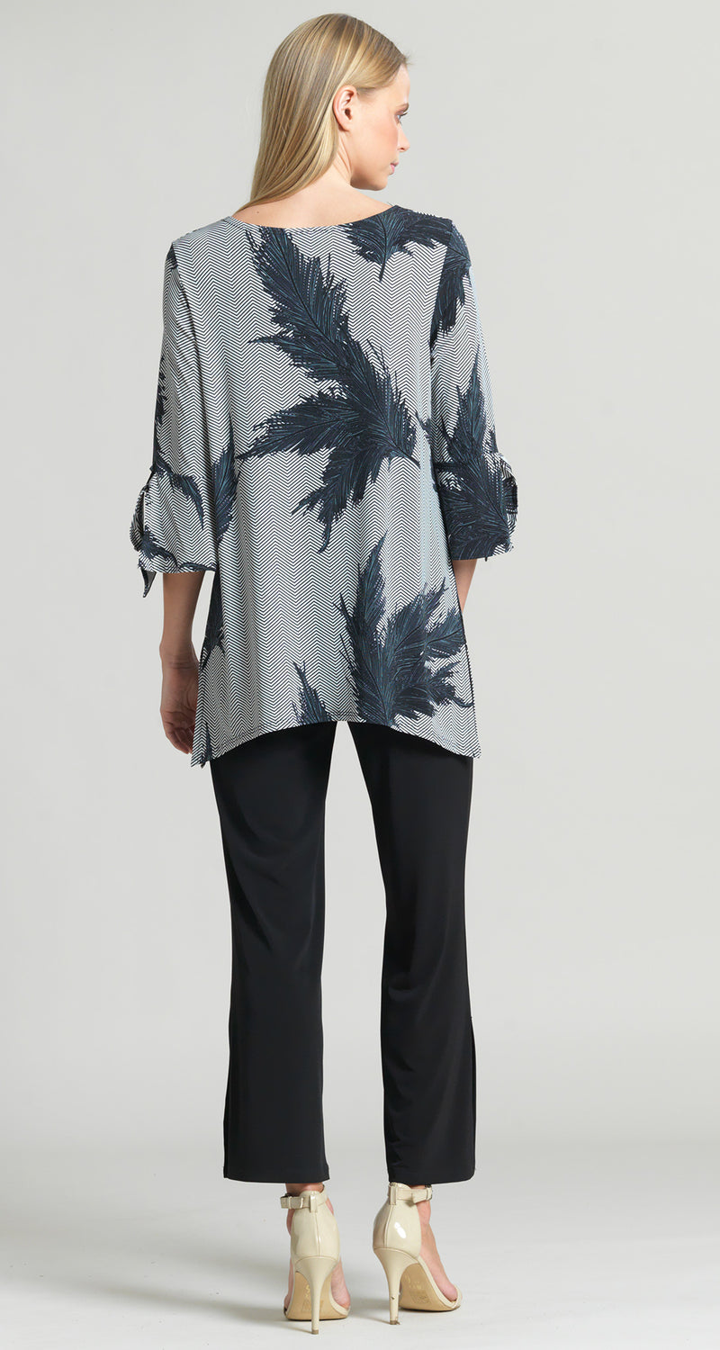 Feather Print Tie Cuff Side Vent Tunic - Final Sale! - Clara Sunwoo