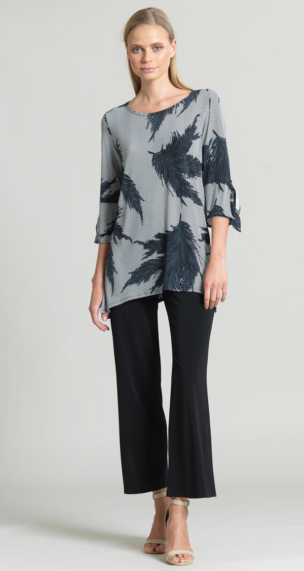 Feather Print Tie Cuff Side Vent Tunic