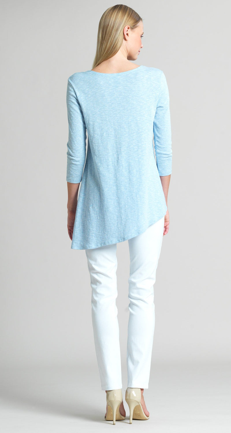 Solid Cotton Knit Faux Pull Tie Tunic - Sky Blue - Clara Sunwoo