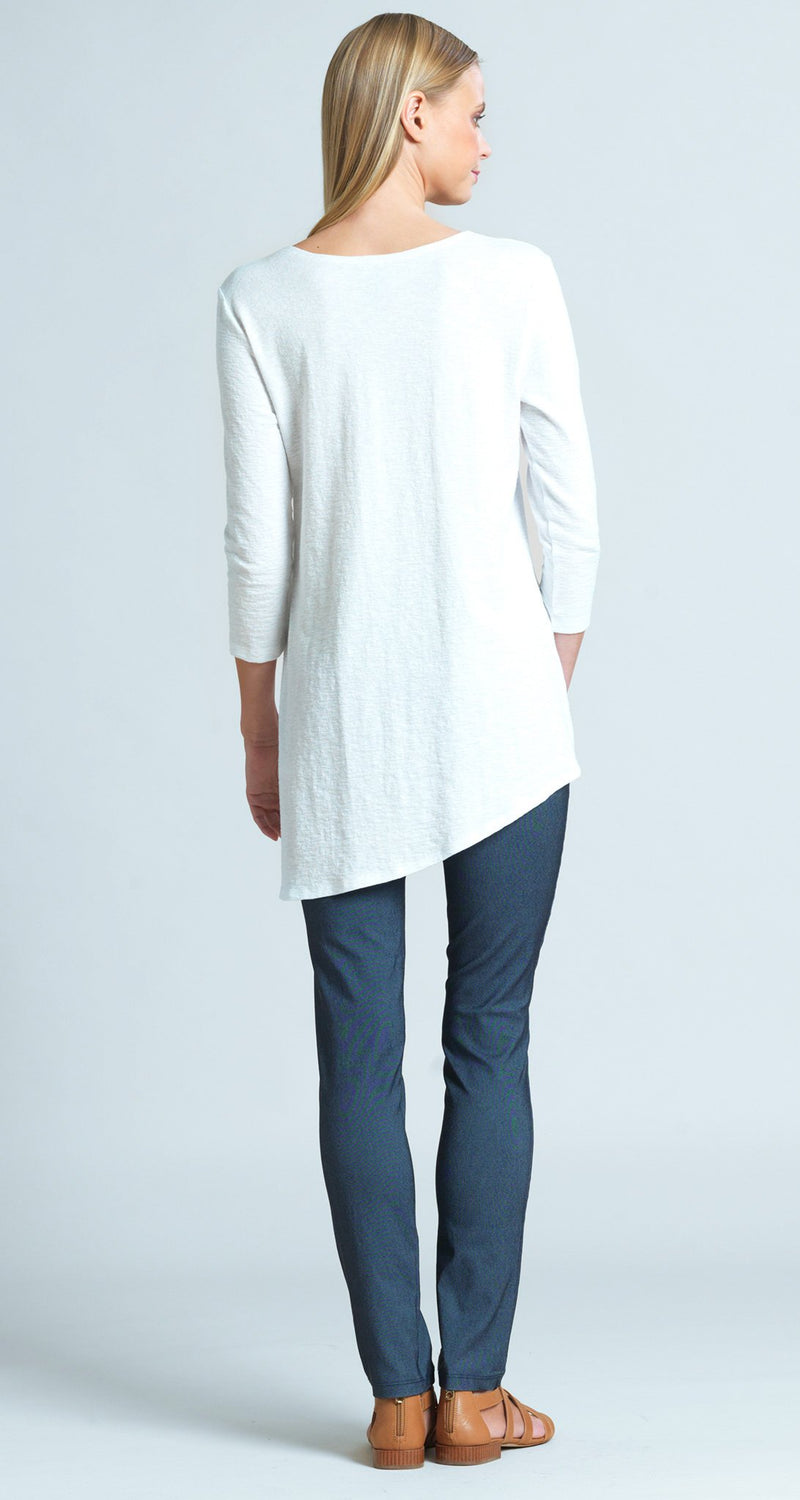 Solid Cotton Knit Faux Pull Tie Tunic - White
