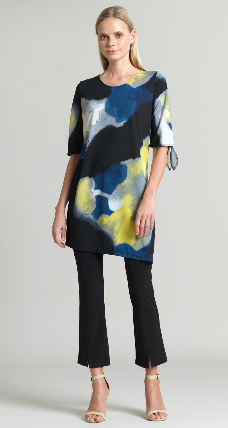 Watercolor Crepe Knit Tie Cuff Tunic - Final Sale! - Clara Sunwoo