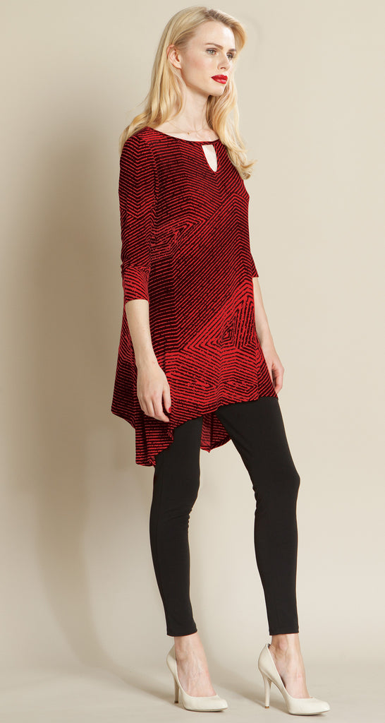 Geo Stripe Front Keyhole Tunic - Red/Black