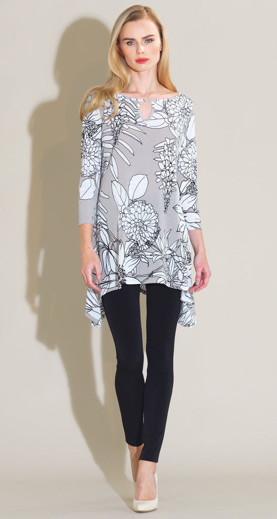 Sunflower Gauze Print Front Keyhole Tunic - White/Taupe - Final Sale