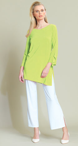 Ruffle Cuff Angle Hem Tunic - Lime - Final Sale!