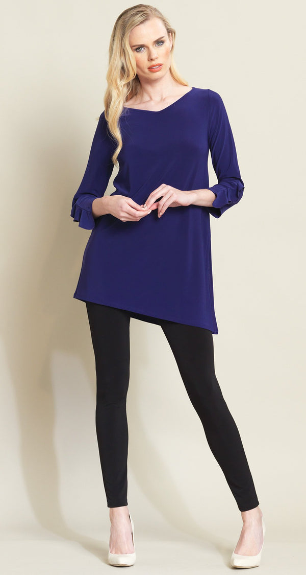 Ruffle Cuff Angle Hem Tunic - Purple - Final Sale - Clara Sunwoo