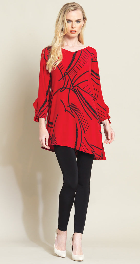 Stencil Ruffle Cuff Tunic - Red/Black