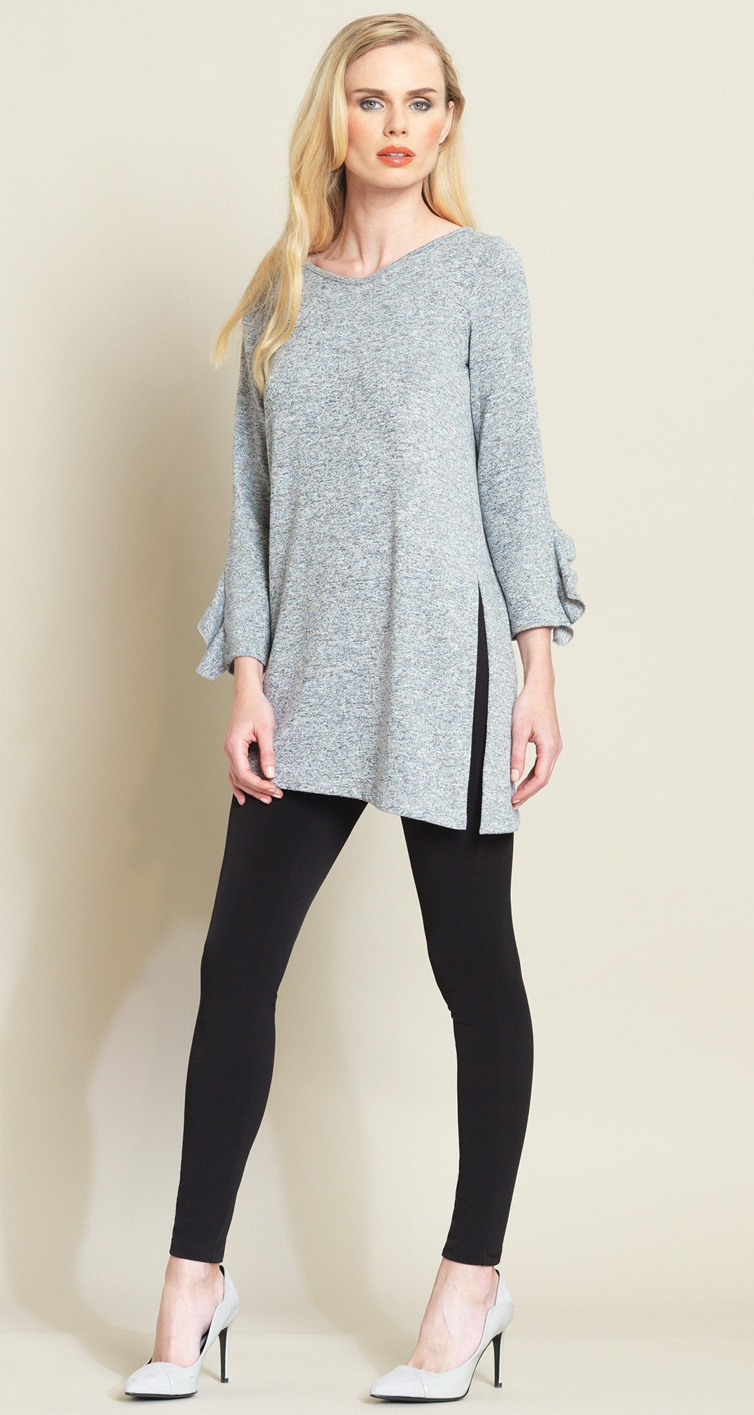 Ruffle Cuff Angle Hem Sweater Tunic - Grey - Final Sale!