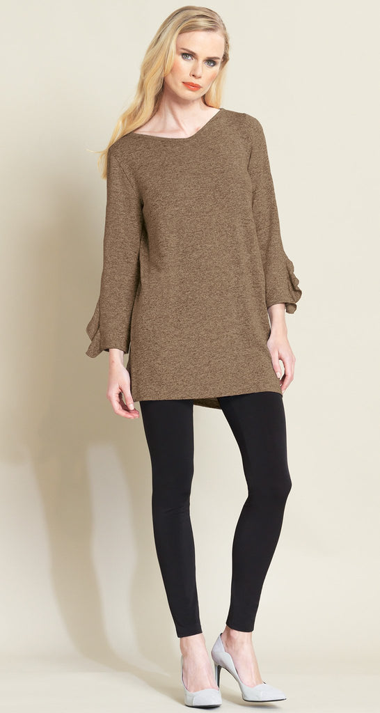 Ruffle Cuff Angle Hem Sweater Tunic - 3 Colors