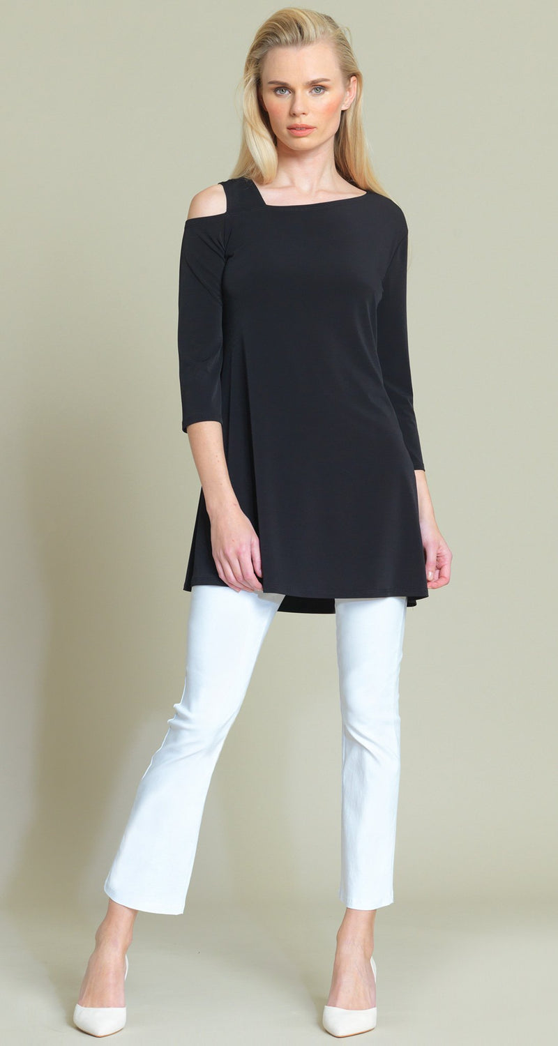 Drop Shoulder Cropped Bell Sleeve Tunic - Black - Final Sale! - Clara Sunwoo