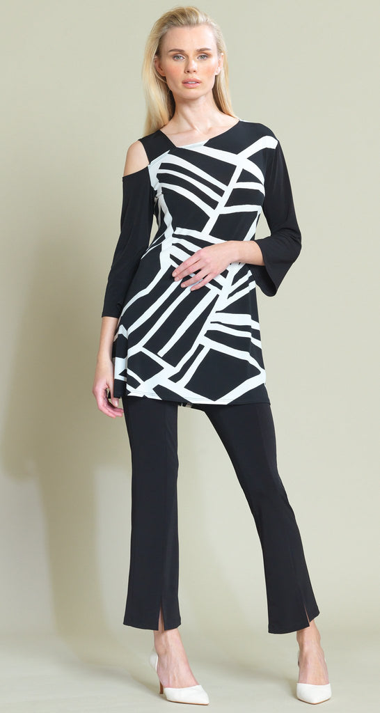 Geo Stripe Print Drop Shoulder Bell Sleeve Tunic - Black/White