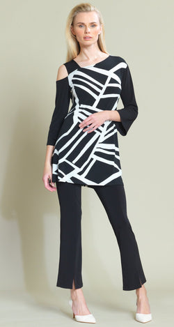 Geo Stripe Print Drop Shoulder Bell Sleeve Tunic - Black/White - Clara Sunwoo