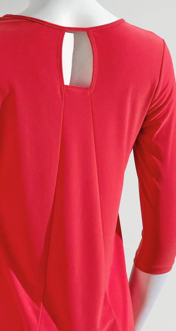 Square Cut Out Solid Tunic - Coral - Final Sale! - Clara Sunwoo