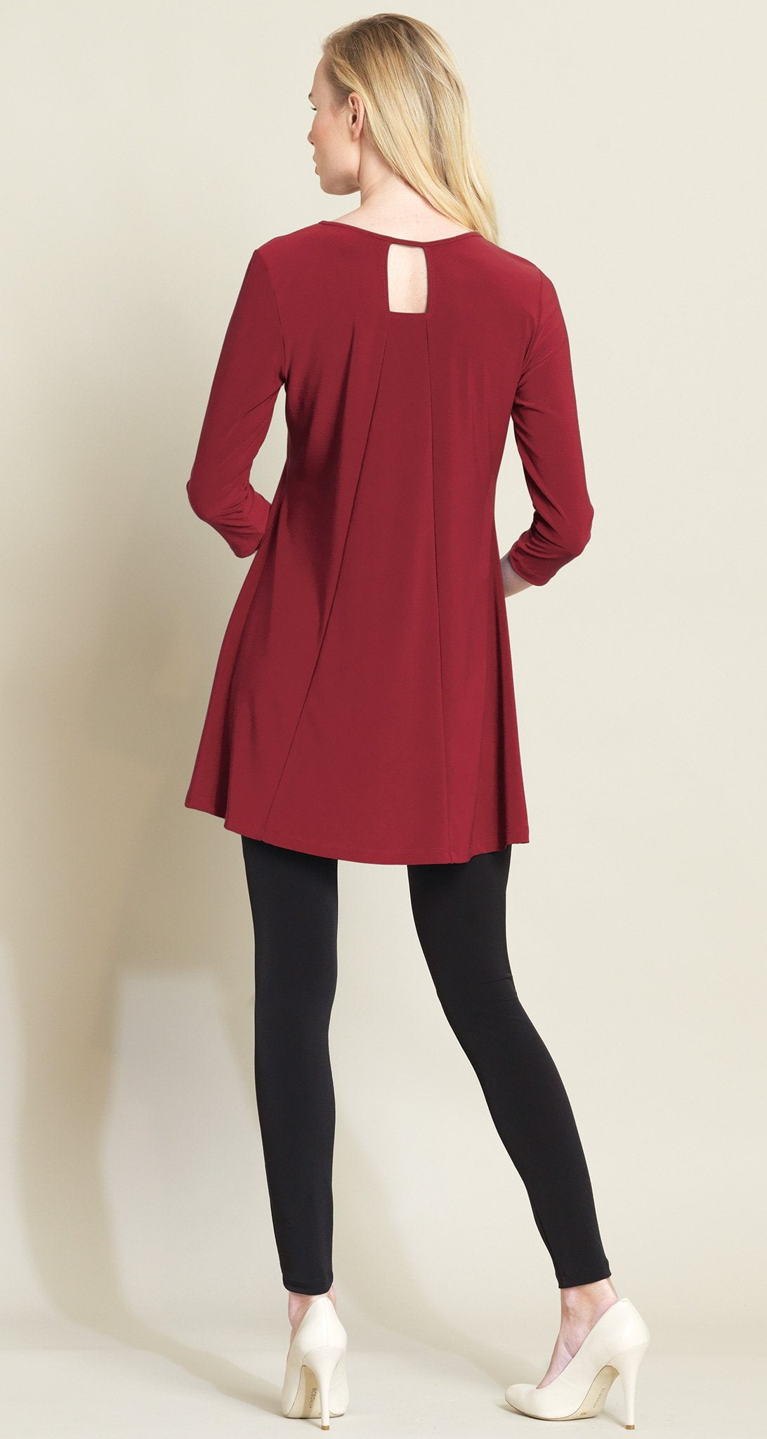 Square Cut Out Solid Tunic - Merlot - Final Sale