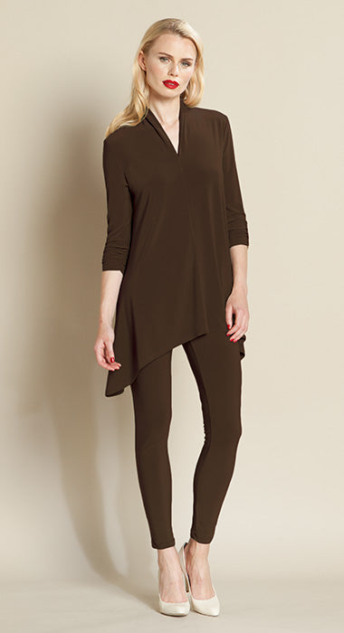 Narrow V-Neck Tunic - Brown
