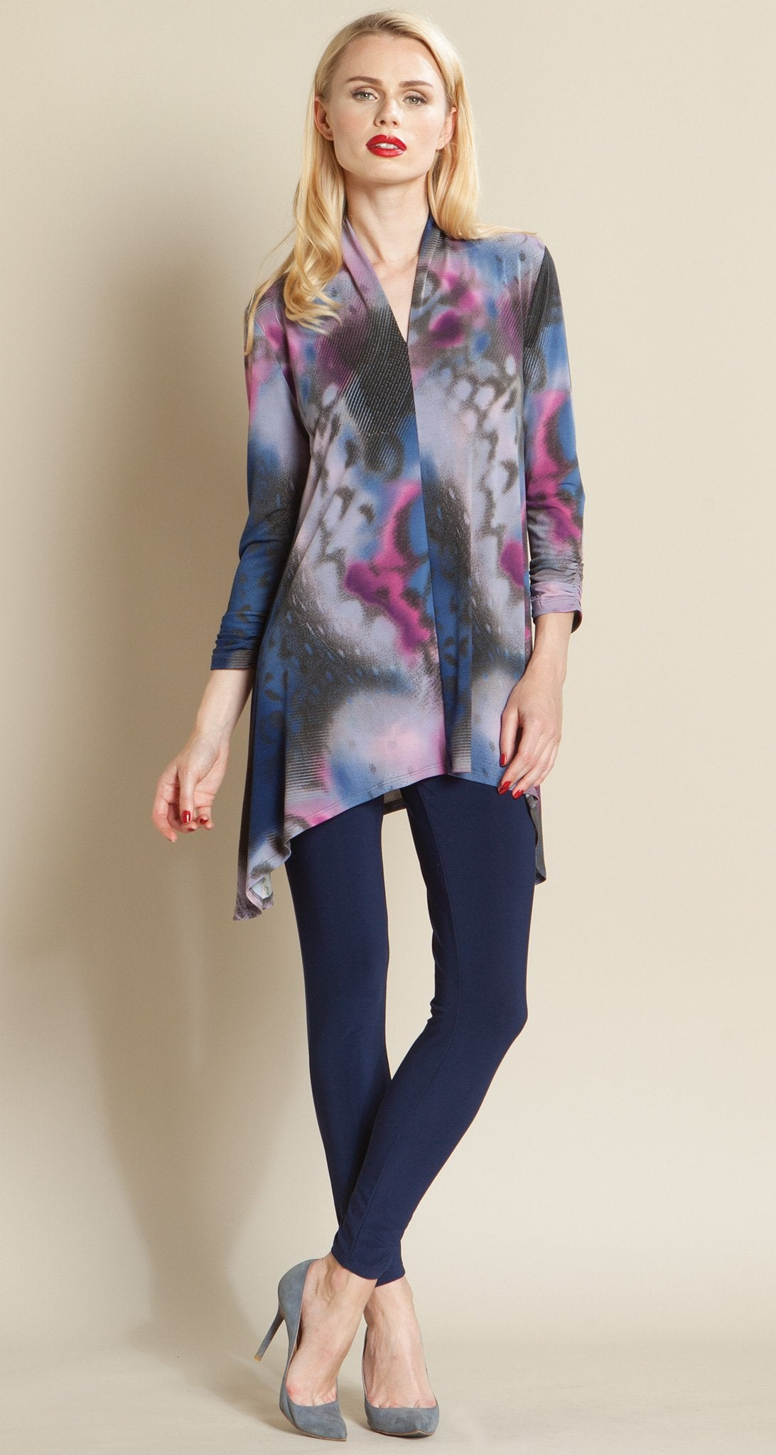 Butterfly Print Narrow V-Neck Tunic - Plum Multi
