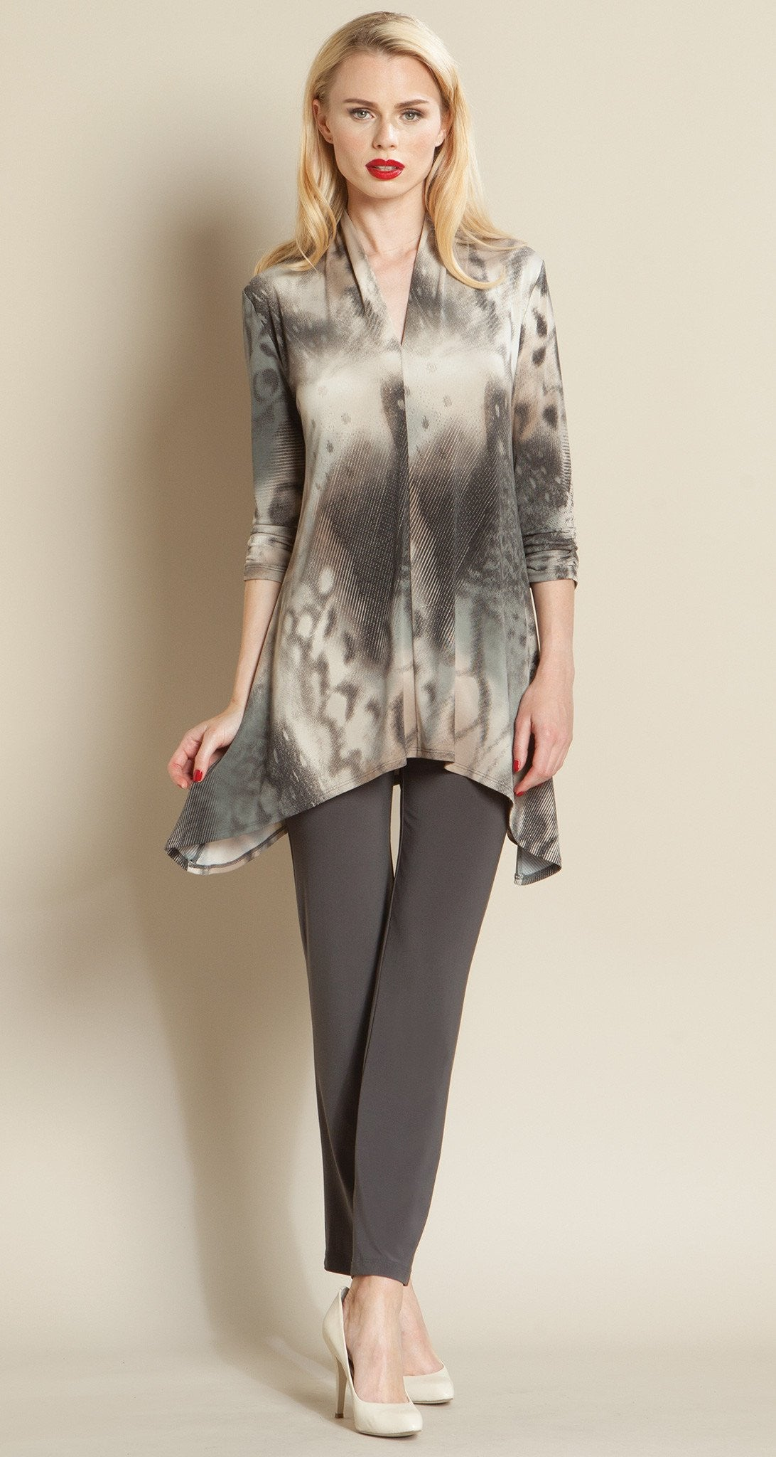 Butterfly Print Narrow V Tunic - Taupe Multi