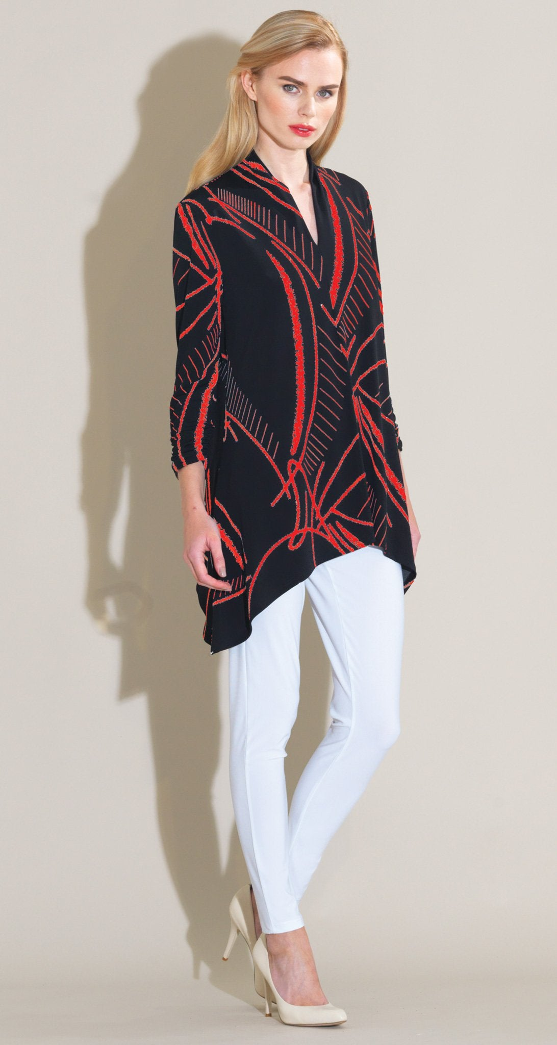 Fish Bone Sketch Print Narrow V-Neck Tunic - Black/Red - Final Sale! - Clara Sunwoo