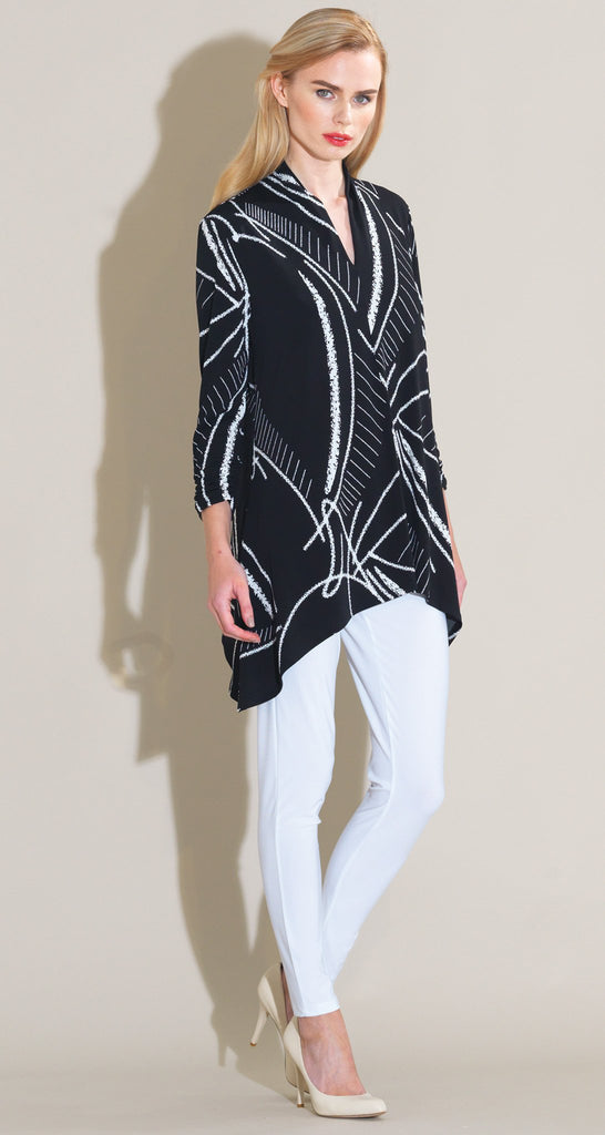 Fish Bone Sketch Print Narrow V-Neck Tunic - Black/White