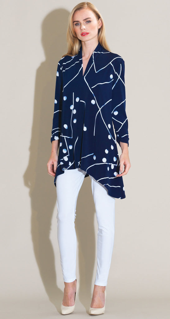 Dots & Lines Narrow V-Neck Tunic - Navy/White