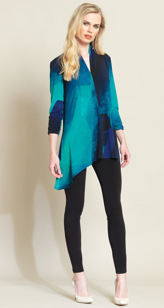 Watercolor Print Narrow V-Neck Tunic - Blue Multi