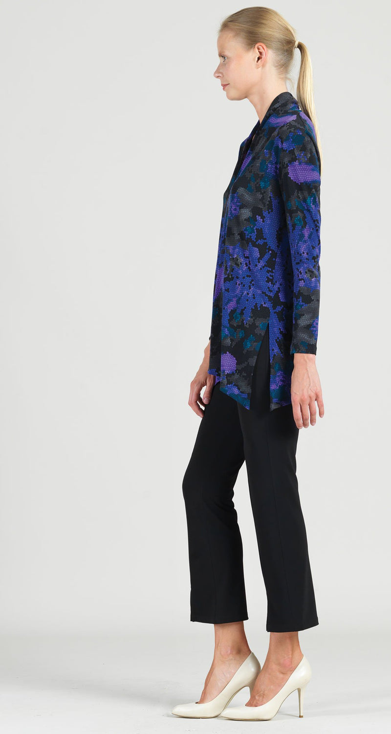 Mosaic Print Narrow V-Neck Side Vent Tunic