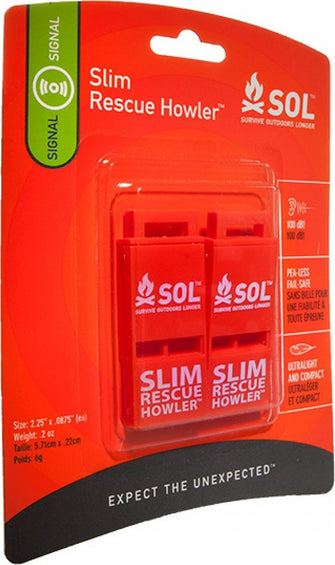 Adventure Medical Kits SOL Slim Rescue Howler Whistle (2 pack)