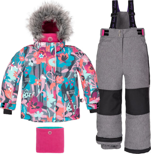 Deux par Deux Printed Floral Lights and Grey 2-Piece Snowsuit - Girls